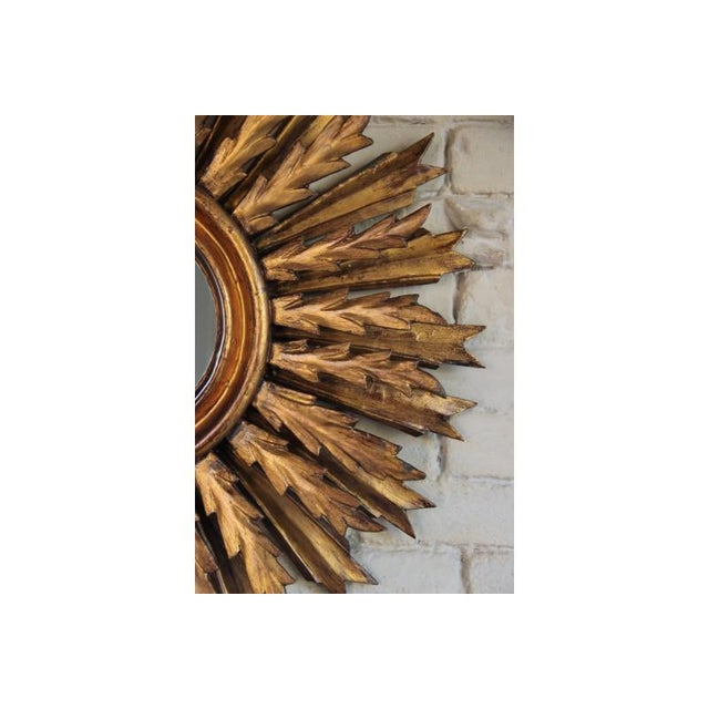 1930s Mid-Century French Double Layer Sunburst Mirror With Original Mirror Glass For Sale - Image 5 of 10