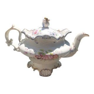 Mid 19th Century Copeland & Garrett Floral Gilt Teapot For Sale