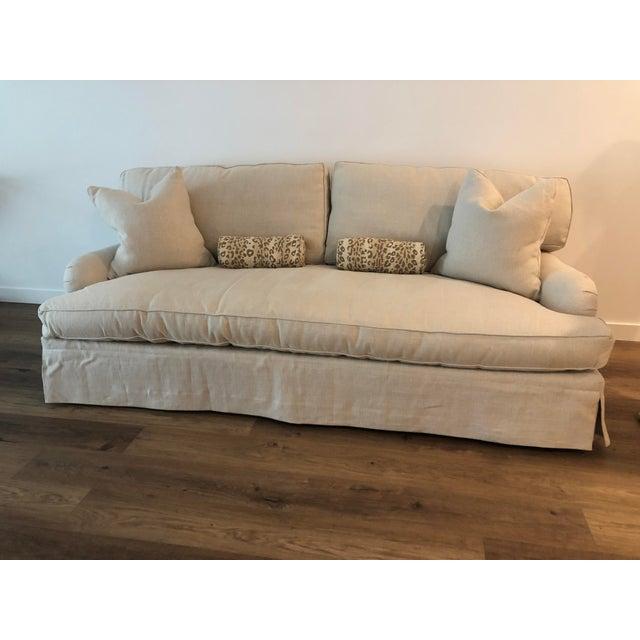 Lee Industries Lee Industries Down FIlled Belgain Linen Sofa For Sale - Image 4 of 13
