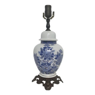 Chinoiserie Blue & White Porcelain Urn Lamp