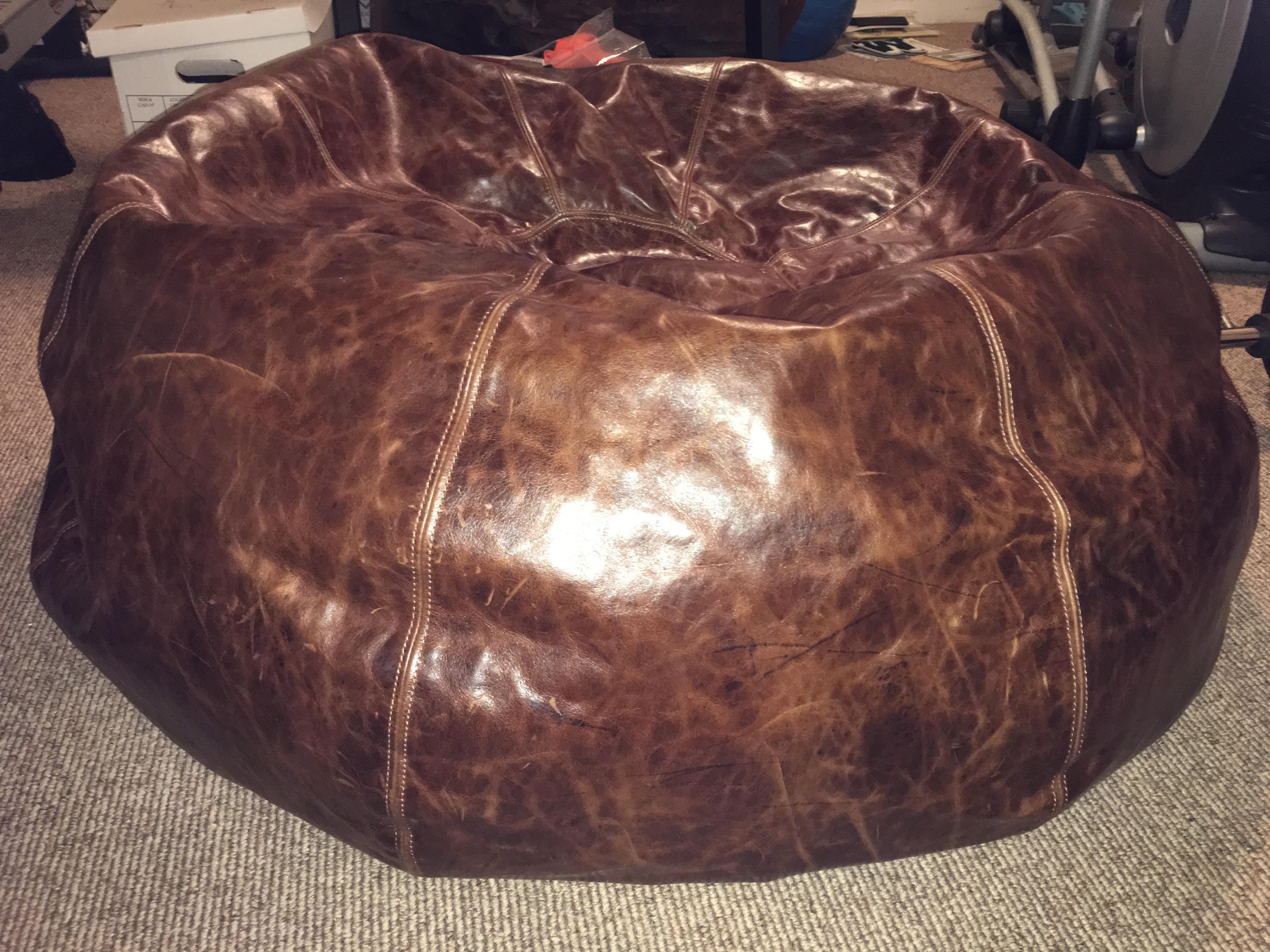 Superbe Restoration Hardware Leather Bean Bag Chair   Image 2 Of 3