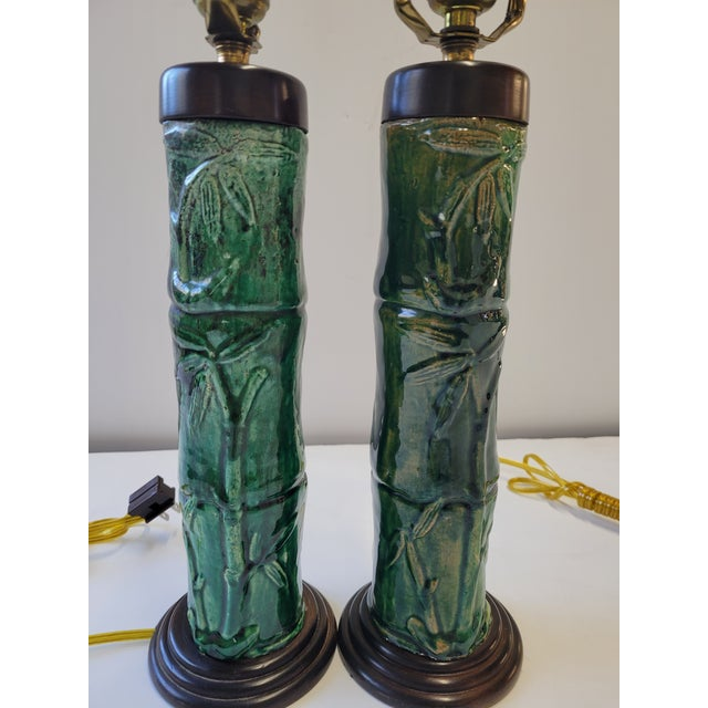 1970s 1970s Faux Bamboo Green Glazed Ceramic Lamps - a Pair For Sale - Image 5 of 6