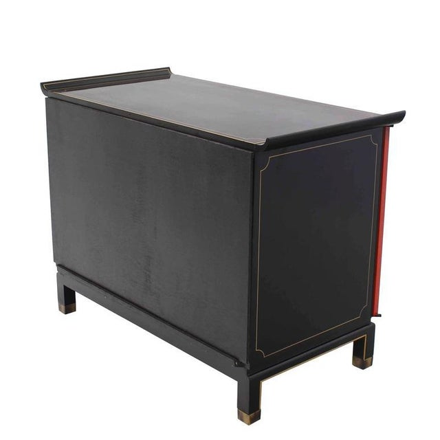 Asian Black and Red Lacquer 2-Tone Cabinet Bachelor Chest For Sale - Image 9 of 11