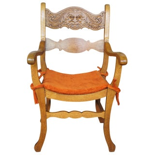 Early 20th Century Victorian Northwind Face Saddle Curule Seat Arm Chair For Sale