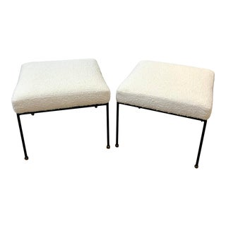 Mid Century Wrought Iron and Boucle Stools in the Manner of Frederick Weinberg - a Pair For Sale