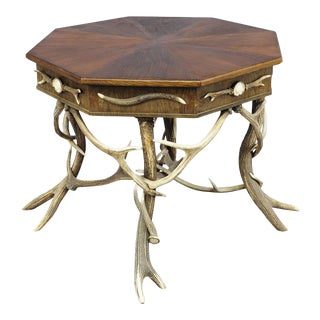 1900 Octagonal Antler Table For Sale