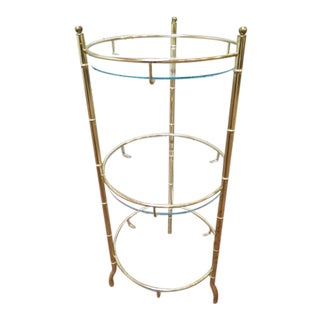 1960s Mid Century Modern Brass Faux Bamboo 3-Tier Small Table For Sale