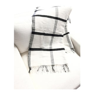 Square Plaid White + Black Throw Blanket