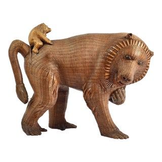 Wicker Baboon Monkey With Baby Sculpture For Sale