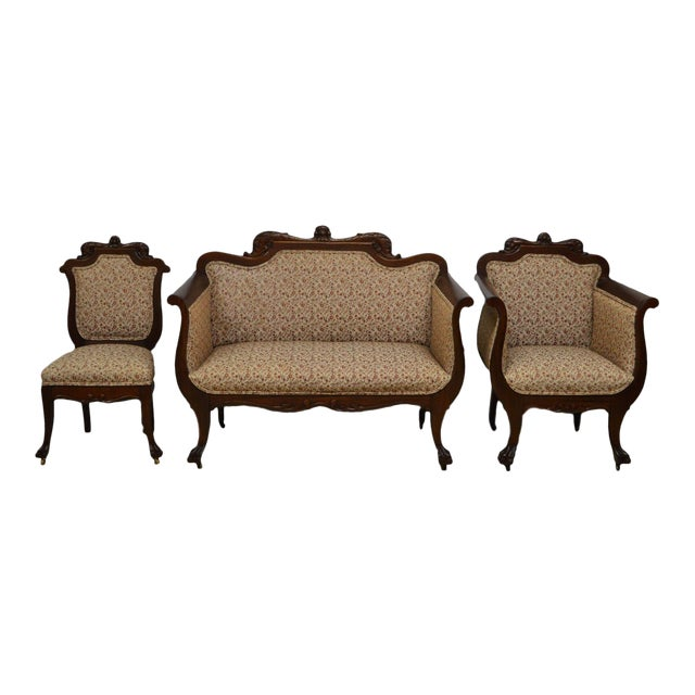 Antique Mahogany 3pc Parlor Set : Settee , Arm Chair , Chair For Sale