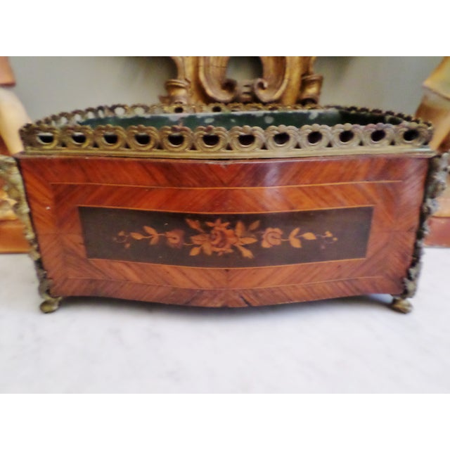This is a Antique French 19th Century Bronze and Inlaid Marquetry Wood Cachet Pot / Flower Box with Tin Liner that has...