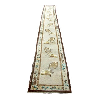 1930s, Handmade Antique Art Deco Chinese Runner 2.4' X 18.1' For Sale
