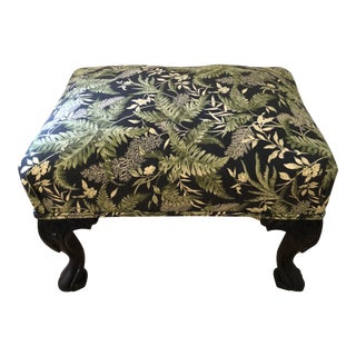 Antique Upholstered Footstool With Mahagony Cabriole Legs