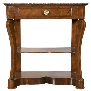 Early 19th Century Charles X Marble Top Console With Shelf For Sale