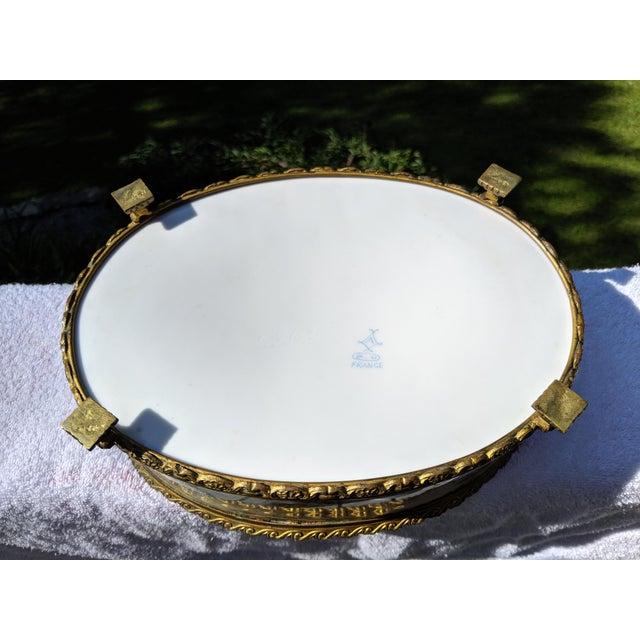1800s Sevres-Style Rose Pompadour Porcelain Gilded Bronze Trim Oval Cachepot For Sale - Image 10 of 13