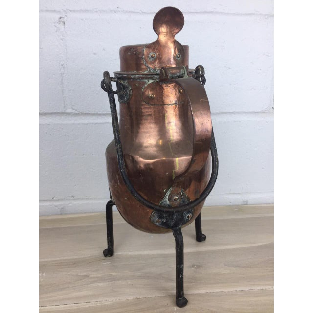 19th Century Copper Handmade Lidded Coffee Tea Pot - Image 4 of 10