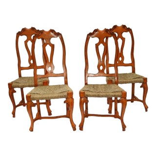 1950s Vintage Rustic Queen Anne Style Dining Chairs- Set of 4 For Sale