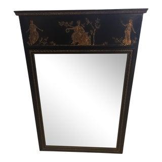 Antique Black & Gold Figural Framed Mirror