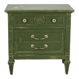 Mid-Century 3-Drawers Green Nightstand, Hand Painted Nightstand, Green Nightstand, 3-Drawers Nightstand For Sale