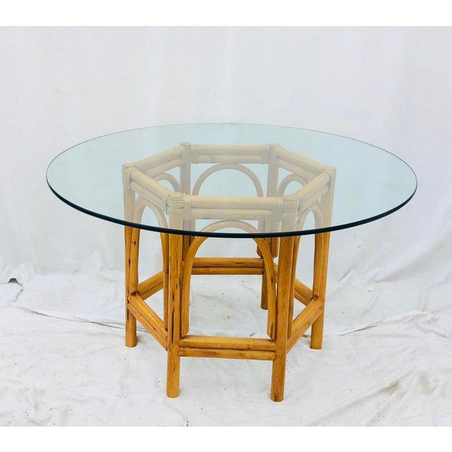 Tribal Vintage Bent Rattan & Glass Table For Sale - Image 3 of 12