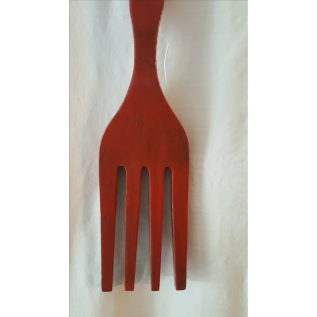 Oversize Red Fork & Spoon - Image 7 of 8