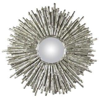 Contemporary Modern Sculptural Sunburst Wall Mirror For Sale