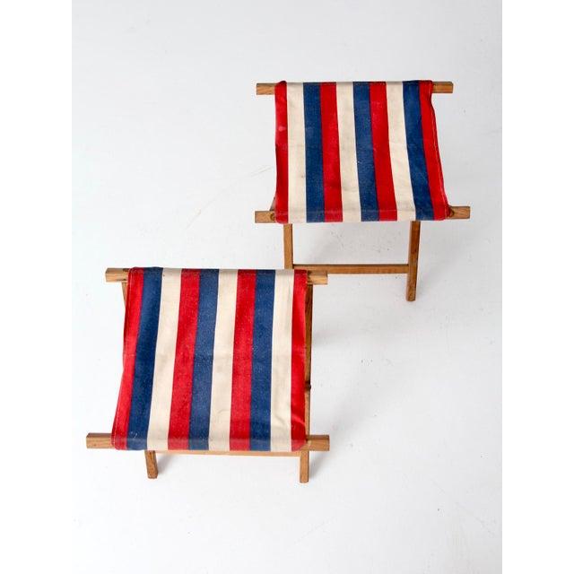 Blue Vintage Striped Camp Stools - Set of 2 For Sale - Image 8 of 10