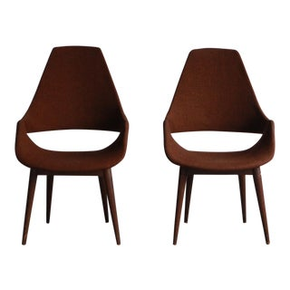 Vintage Mid Century Danish High Back Chairs- a Pair For Sale