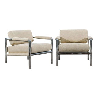 Stunning Pair of Tubular Chrome Lounge/Club Chairs in Raw Silk For Sale
