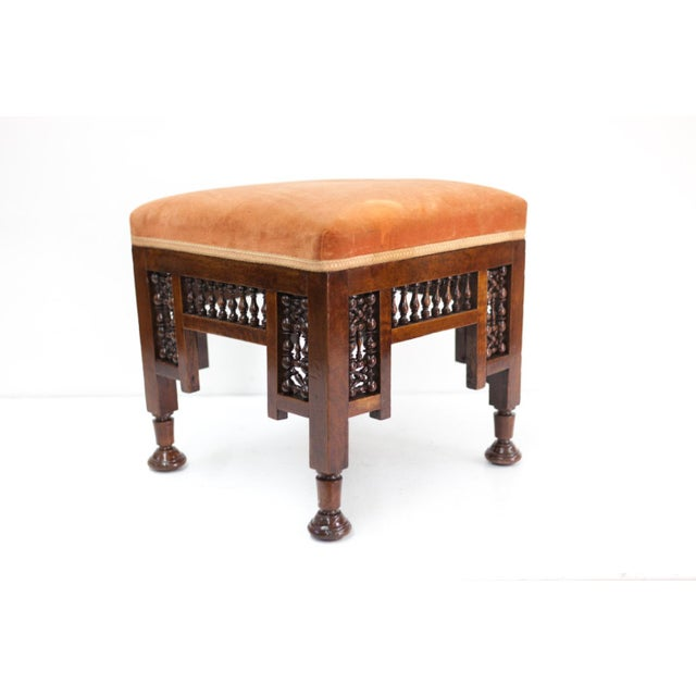 Mediterranean Stool With Deep Salmon Suede Seat - Image 2 of 6