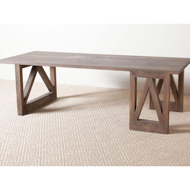 2010s Contemporary Rectangular Oak V Dining Table For Sale - Image 5 of 5
