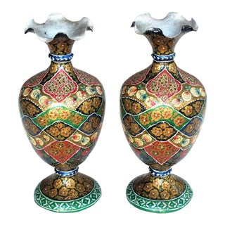 A Vibrant and Unusual Pair of Kashmiri Papier Mache Polychromed Urns For Sale