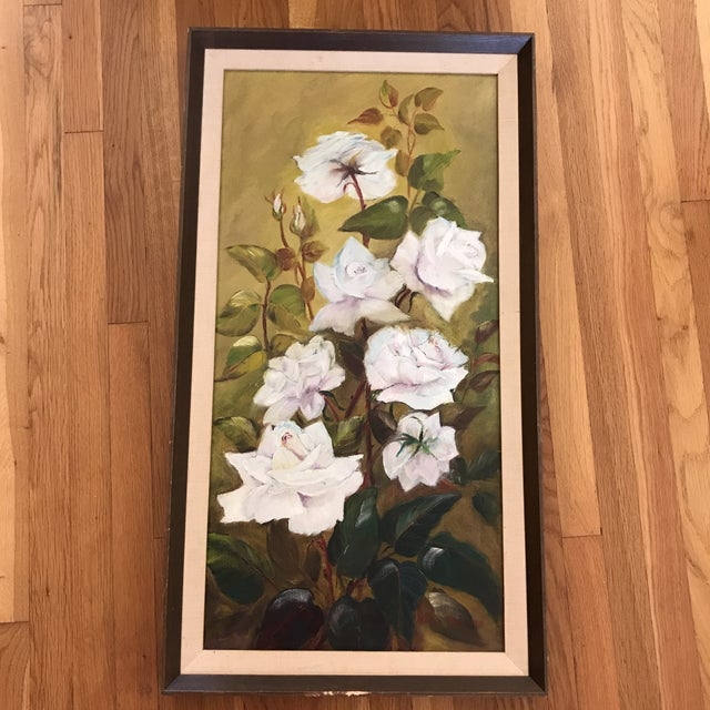 Brown Vintage Blooming White Roses Framed Oil Painting For Sale - Image 8 of 10