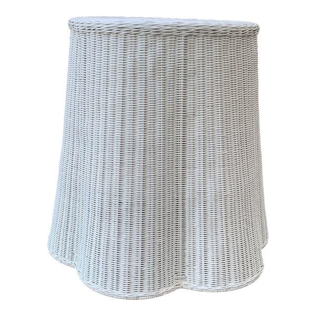 Trompe l'Oeil Round Top White Draped Rattan Table For Sale