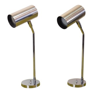 Modernist Koch and Lowy Stainless Steel Task Lamps - a Pair For Sale