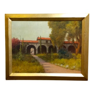 1920s William Barr Mission Capistrano Impressionist California Oil Painting For Sale