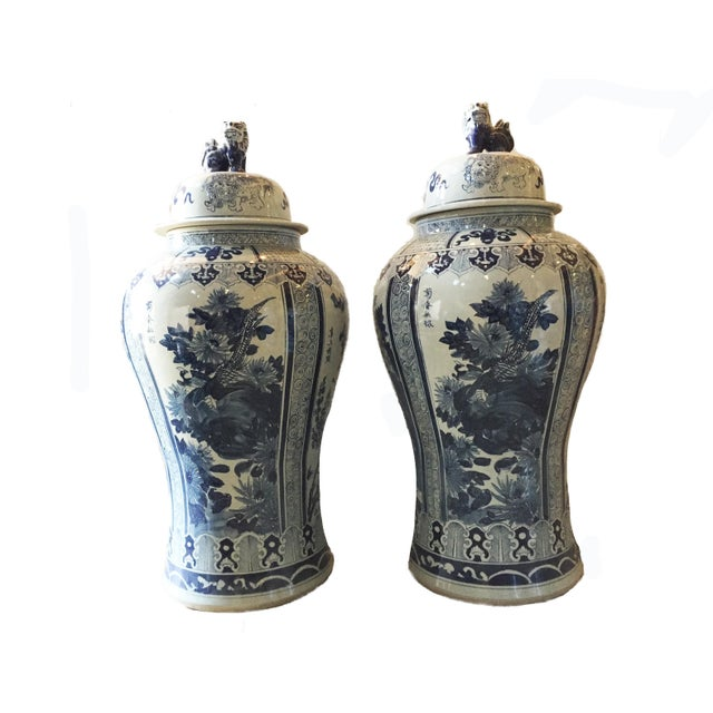 """Blue Mansion Size H. Painted Chinoiserie Ginger Jars - a Pair 47.5"""" H For Sale - Image 8 of 9"""