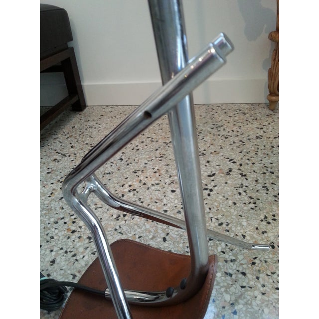 Chrome and Leather Floor Lamp For Sale - Image 11 of 12