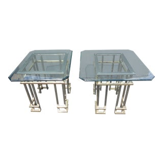 Vintage Mid-Century Contemporary Chrome End Tables the Style of Guy Lefevre - A Pair