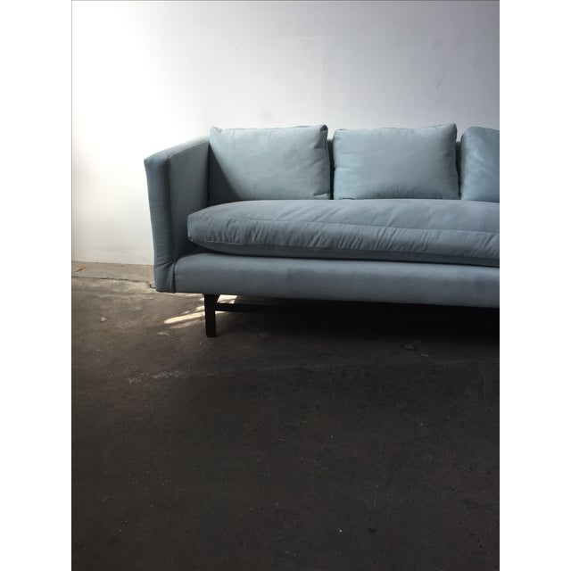 Mid-Century Rosewood Sofa in Mint Microsuede - Image 4 of 10