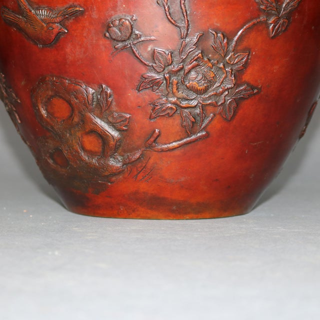 Metal Antique Japanese Embossed Bronze Jardinière with Garden Scene, circa 1920 For Sale - Image 7 of 11