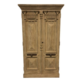Restortion Hardware 19th C. French Carved Door Panel Double-Door Cabinet For Sale
