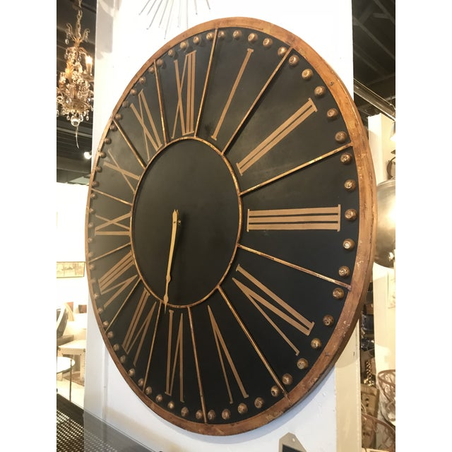 Modern Large Black and Copper Clock For Sale - Image 3 of 8