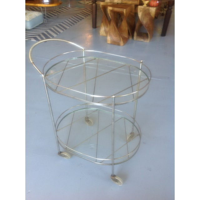 Mid-Century Silver Toned Bar Cart For Sale - Image 5 of 5