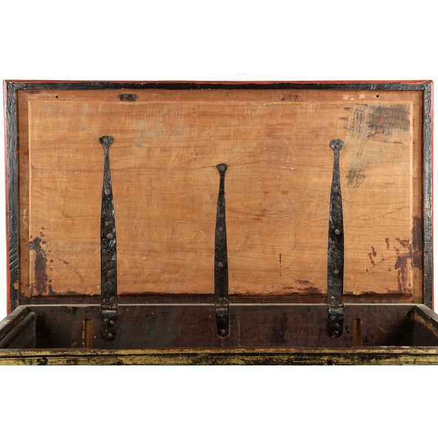 Antique Chinese Red and Gold Blanket Chest, 19th C - Image 9 of 10