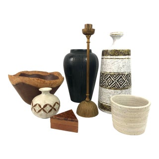 Organic Modern Pottery and Smalls - 7 Pieces For Sale