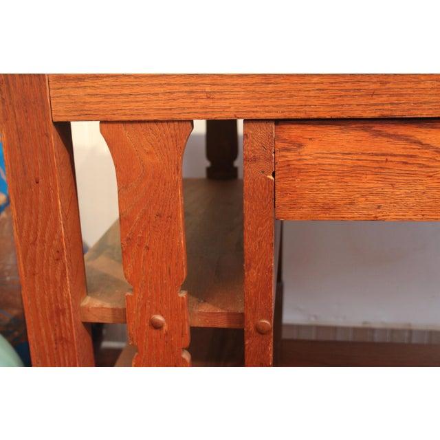 1920s Antique Stickley Desk Table Bookshelves Mission Oak Writing Desk For Sale - Image 10 of 13