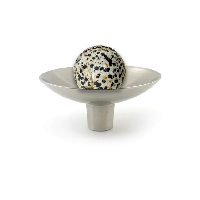 Art Deco Addison Weeks Gibson Knob, Pewter & Dalmation Jasper For Sale - Image 3 of 4