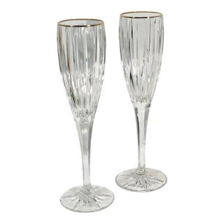 Mikasa Golden Tiara Crystal Gold Rim Champagne Glasses - a Pair For Sale