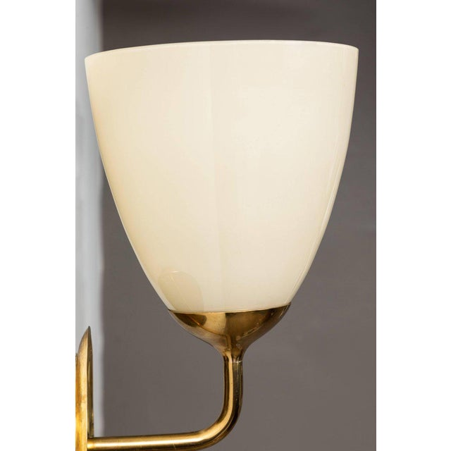 1950s Scandinavian Modern Paavo Tynell for Taito Oy Glass and Brass Sconces - a Pair For Sale In Los Angeles - Image 6 of 13